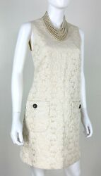 Designer New 6 US 42 IT M Cream White Floral Cocktail Dress Buttons Runway Auth $57.00