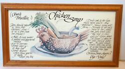 Vtg CHICKEN SOUP JEWISH PENICILLIN ART PRINT Recipe FRAMED Kitchen Decor $103.84
