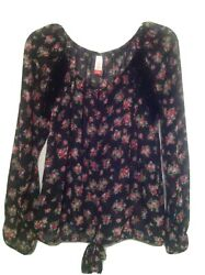 New Black Floral Boho Empire Peasant Top Shirt Size XS or S $15.95