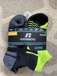 Russell Performance 6 PAIR Active NO Show boys Socks . Large 3 9 Shoe Size New $6.90