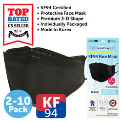 KF94 BLACK Face Protective Mask Made in Korea KFDA Approved Adult Size 4 Layers $15.99