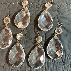 6 Vintage Chandelier Vintage Teardrop Glass Crystal Replacement Prisms 3quot; $17.95