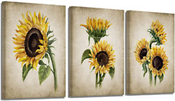 Sunflower Kitchen Decor Simple Life Rustic Wall Decor Vintage Watercolor Sunflow $44.99