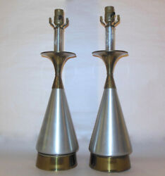 MCM PAIR LAMPS Brushed Aluminum Brass Table Russel Wright $560.50