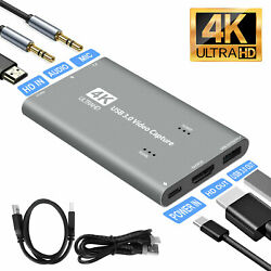 4K 60fps HDMI to USB 3.0 Video Capture Card Game Live Streaming Recorder Device $34.98