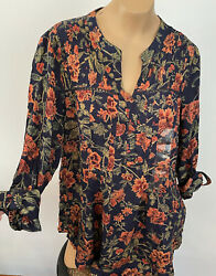ANTHROPOLOGIE VINTAGE AMERICA Floral PEASANT TOP Boho Size small NWT $69 $14.00
