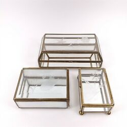 3 Brass amp; Glass Display Case Trinket Boxes with Mirrored Base Etched Glass $44.95