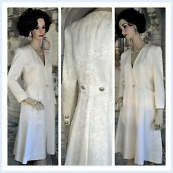 Vtg CAROLINE CHARLES LONDON dress designer cocktail dressy white damask SZ 8 10