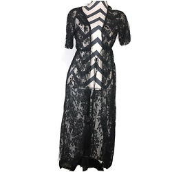 Lace Sheer Black Embroidered Cover Up Women Top Beach Summer Lounge Sz XS S $15.29
