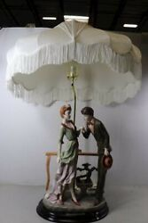 Vintage Ok Collection Table Lamp Courting Couple with Original Silk Fringe Shade $225.00