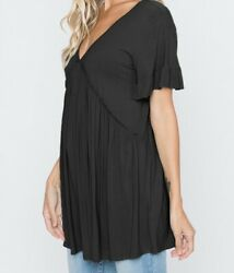 Ruffled Short Sleeve Solid Soft Babydoll Top Black Plus Size
