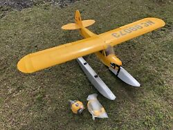 """62"""" Eflight RC Balsa Wood Seaplane .25 Electric Piper Cub On Floats Ready To Fly $299.99"""
