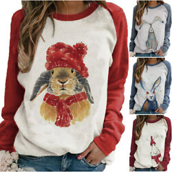 Women Cartoon Rabbit Print T Shirt Easter Day Crew Neck Tops Shirt Loose Jumper $17.85