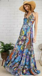 Easel Brand Anthropologie Blue Floral Sleeveless Maxi Dress Boho M Medium $45.00