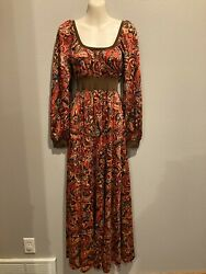 Women#x27;s HANDMADE Vintage 60s 70s Inspired Retro Floral Maxi Dress Size S $24.99