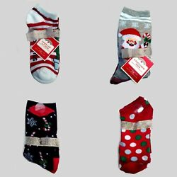 4 Pairs NEW Womens Holiday Time Christmas Socks Crew and Low Cut Shoe Size 4 10 $8.00
