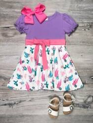 Succulent Pink and Purple Watercolor Girls Dress $16.97