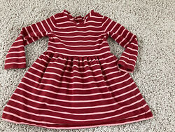 Girls Dress Hanna Andersson Size 90 Stripe Twirl Dress Long Sleeve Red Pink $18.00