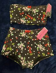 Betsey Johnson Black Size L Bikini Polka Dot Cherry Floral NEW