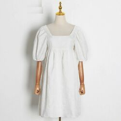 Women Square Collar White Dresses Puff Half Sleeve High Waist A Line Short Outfi $50.99