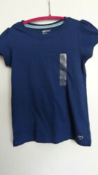 NWT GAP KIDS NAVY COLOR BASIC Top SHIRT CAPPED SLEEVES GIRLS SIZE M 8 $8.00