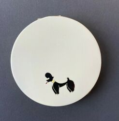 MID CENTURY UNSIGNED ENAMEL VANITY COMPACT FROM THE 50#x27;S w POODLE DESIGN $37.00