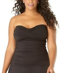 Anne Cole BLACK Plus Size Twist Front Strapless Tankini Swim Top US 20W