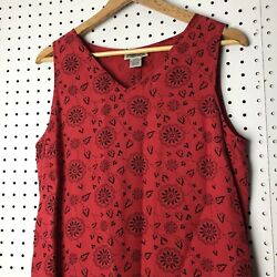 Style amp; Co Collection Women#x27;s Sleeveless Long Dress V Neck Size 10 Red Floral $14.99