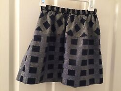 Crewcuts J Crew Skirt Pull On Navy Blue Golden Grid Holiday Fancy Girls Size 6 7 $9.99