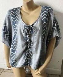 RIP CURL Womens Size Large Lace Up Front Kimono Tribal Peasant Blouse Shirt $14.99