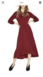 Boden Rosa Jersey Burgundy Dress with Navy Polka Dots Fit amp; Flare Tie Neck $21.00