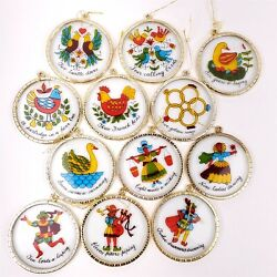 12 Days of Christmas Ornaments Trim A Tree Hand Painted Glass $24.95