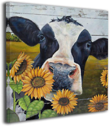 Rustic Wall Art For Bedroom Sunflower Cow Painting Canvas Prints Farm Pictures F $25.99