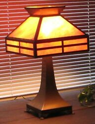 Antique Slag Glass Brass Lamp Mission Style Arts amp; Crafts Great Condition $495.00