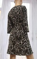 AA Next petites brown ivory floral smart work party ¾ sleeve dress 14uk GBP 12.90