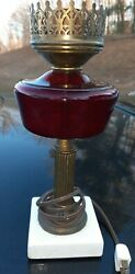 Antique Ruby Red lamp marble base. $55.00