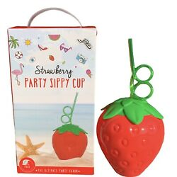 Strawberry Tumbler Sippy Cup Crazy Straw Party Favor Summer Themed Beach Picnic $11.25