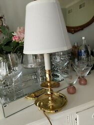 Vintage Baldwi? Brass Candlestick Lamp with Shade $55.00