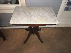 Antique American Walnut White marble top Victorian table rectangular shape $150.00