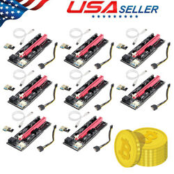 8PACK VER009S PCI E Riser Card PCIe 1x to 16x USB 3.0 Data Cable Bitcoin Mining $49.98