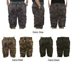 Mens Camo Belted Cargo Shorts MP408 $19.96