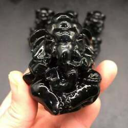 Natural Obsidian Crystal Quartz Carved Ganesha Healing Reiki Decoration 1PC $29.99