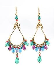 GORGEOUS Lightweight Aquamarine Purple Red Crystals Gold Chandelier Earrings $23.99