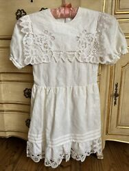 VTG Paper White Linen Cotton Hand Embroidered amp; Hand Made Lace Dress Girls 8 $20.00