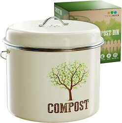 1.0 Gallon Compost Bucket Carbon Steel Countertop Includes Charcoal Filter $23.39