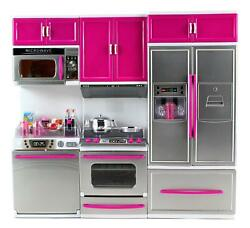 My Modern Kitchen Full Deluxe Kit Playset Refrigerator Stove Sink Microwave Pink $58.98