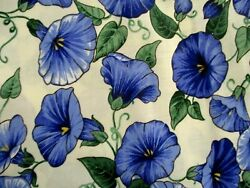 2 1 2 YDS CHINTZ FABRIC SHADES OF BLUE MORNING GLORIES LTWT UPHOLSTERY FABRIC $18.00
