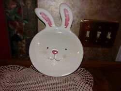 Blossoms and Blooms Bunny Rabbit Easter Novelty Serving Bowl Candy Dish Platter $19.99