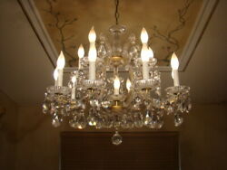 SPECTACULAR OLD 50s GLASS CRYSTAL ITALIAN VENETIAN MARIA THERESA CHANDELIER 16L $860.00
