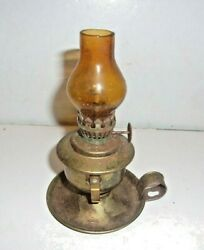 Vintage MINI Brass Oil Lamp With AMBER Globe 4 1 2quot; Tall NO CHIPS OR CRACKS #3 $14.00